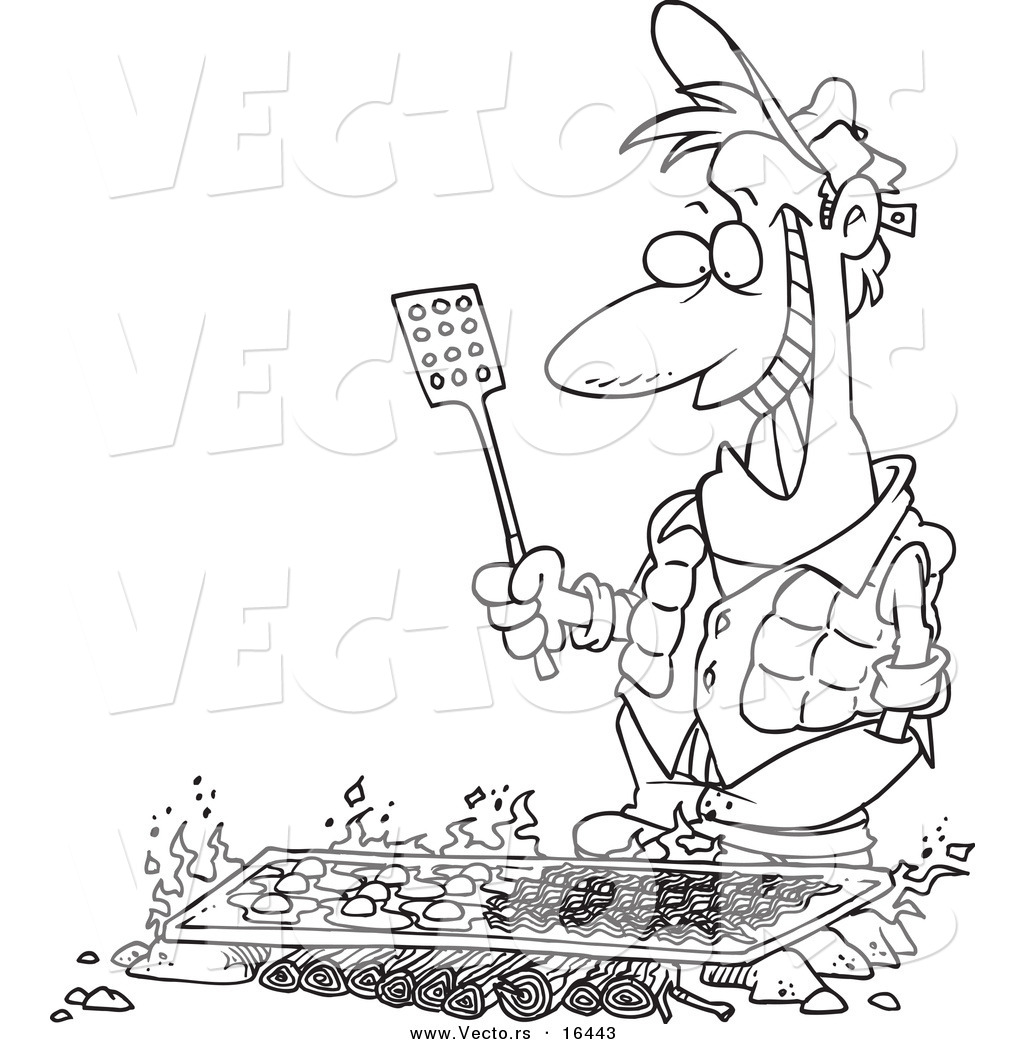 vector of a cartoon man cooking on a griddle over a camp fire