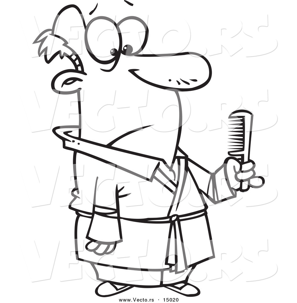 Vector Of A Cartoon Man Holding Comb Coloring Page Outline By Ron Leishman 15020