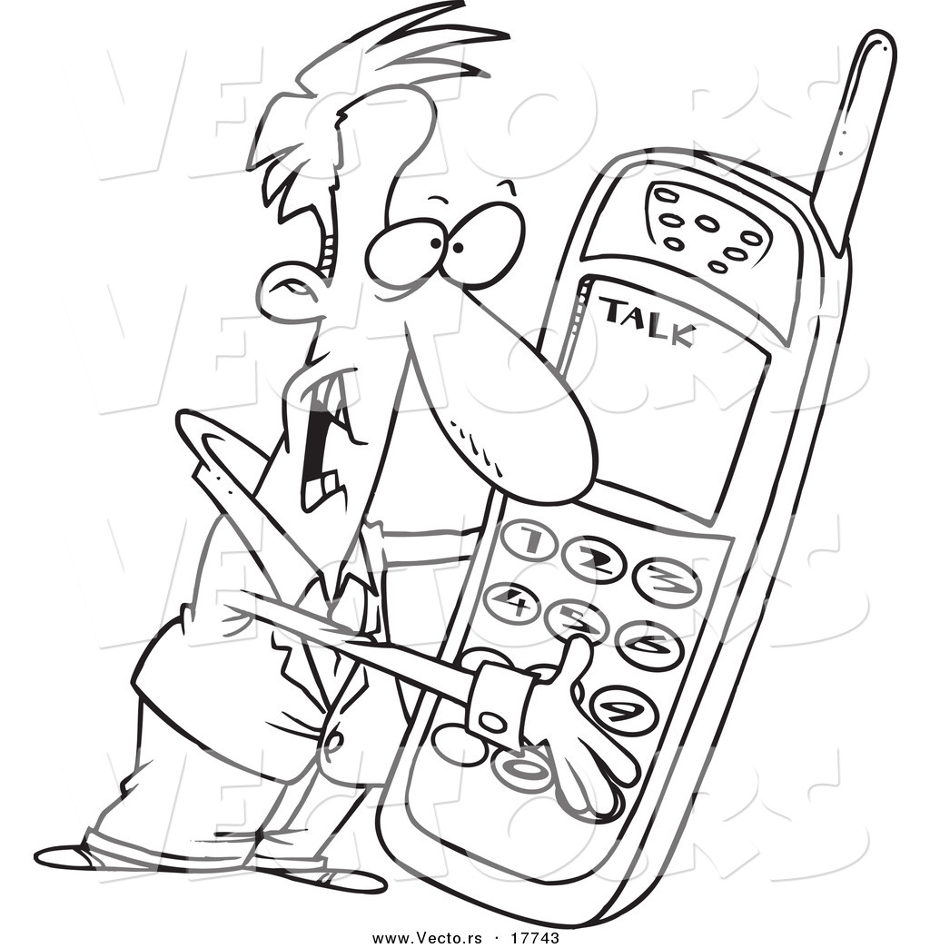 vector of a cartoon man holding a giant phone - coloring page outline by toonaday