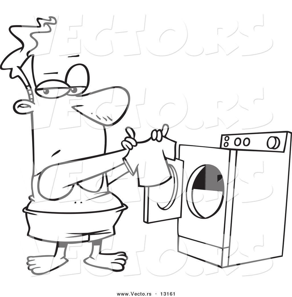 Cartoon Clothes Dryer ~ Vector of a cartoon man holding tiny shirt fresh out