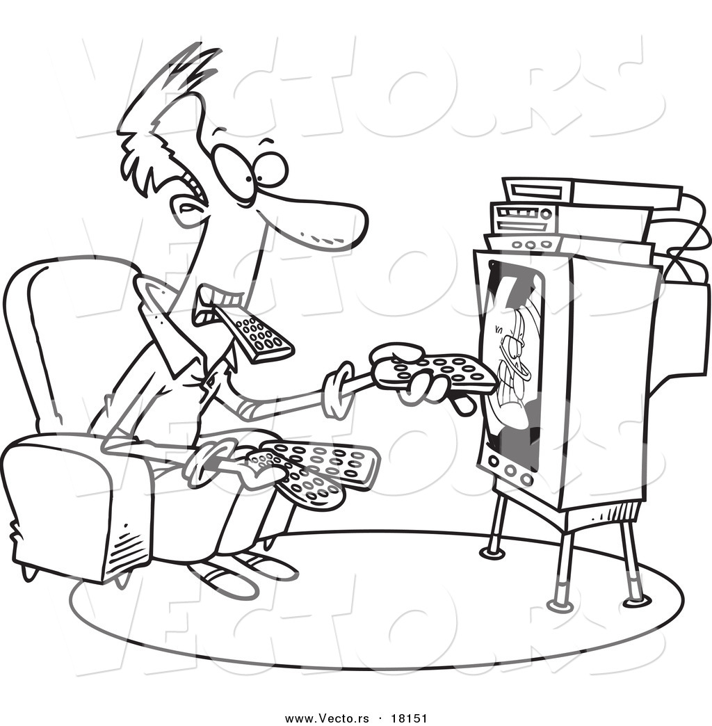 Adult Beauty Tv Coloring Pages Images cute vector of a cartoon man holding many remotes and watching tv outlined coloring page images