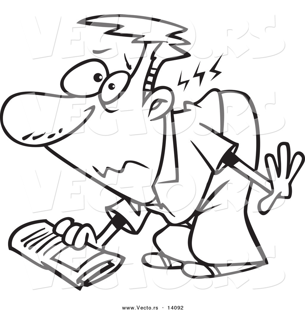 vector of a cartoon man hurting his back while picking up a newspaper coloring page outline by. Black Bedroom Furniture Sets. Home Design Ideas