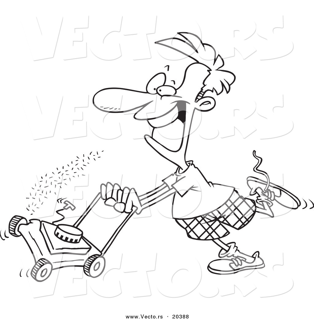 vector of a cartoon man mowing his lawn - coloring page outline by toonaday