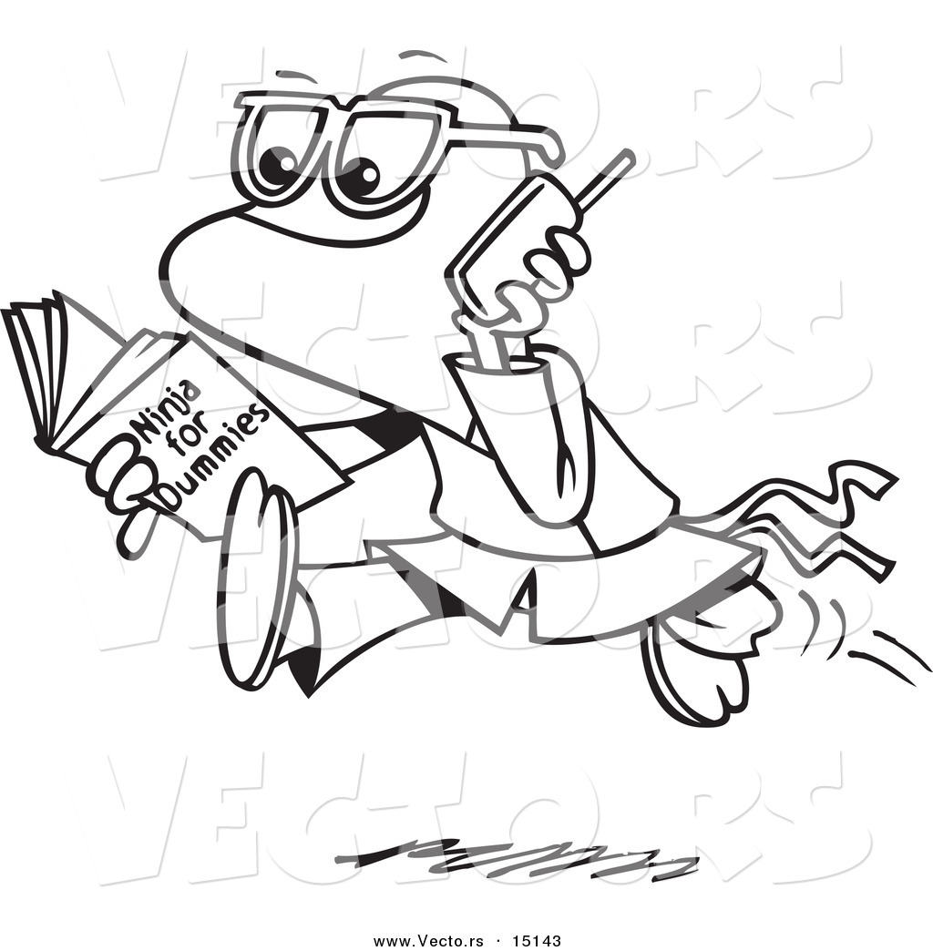 vector of a cartoon man reading a ninja for dummies book