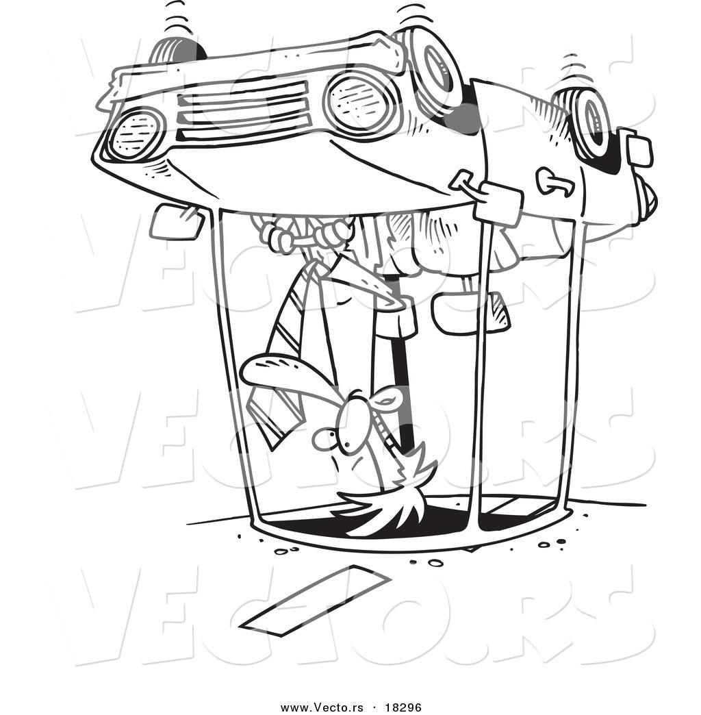 Vector of a Cartoon Man Rolling