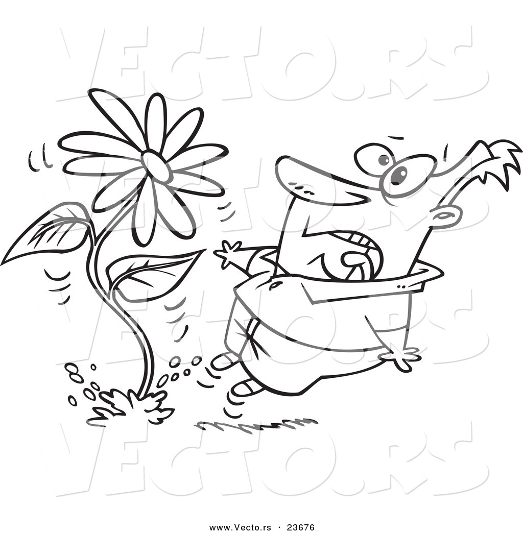 vector of a cartoon man screaming at a giant daisy springing up