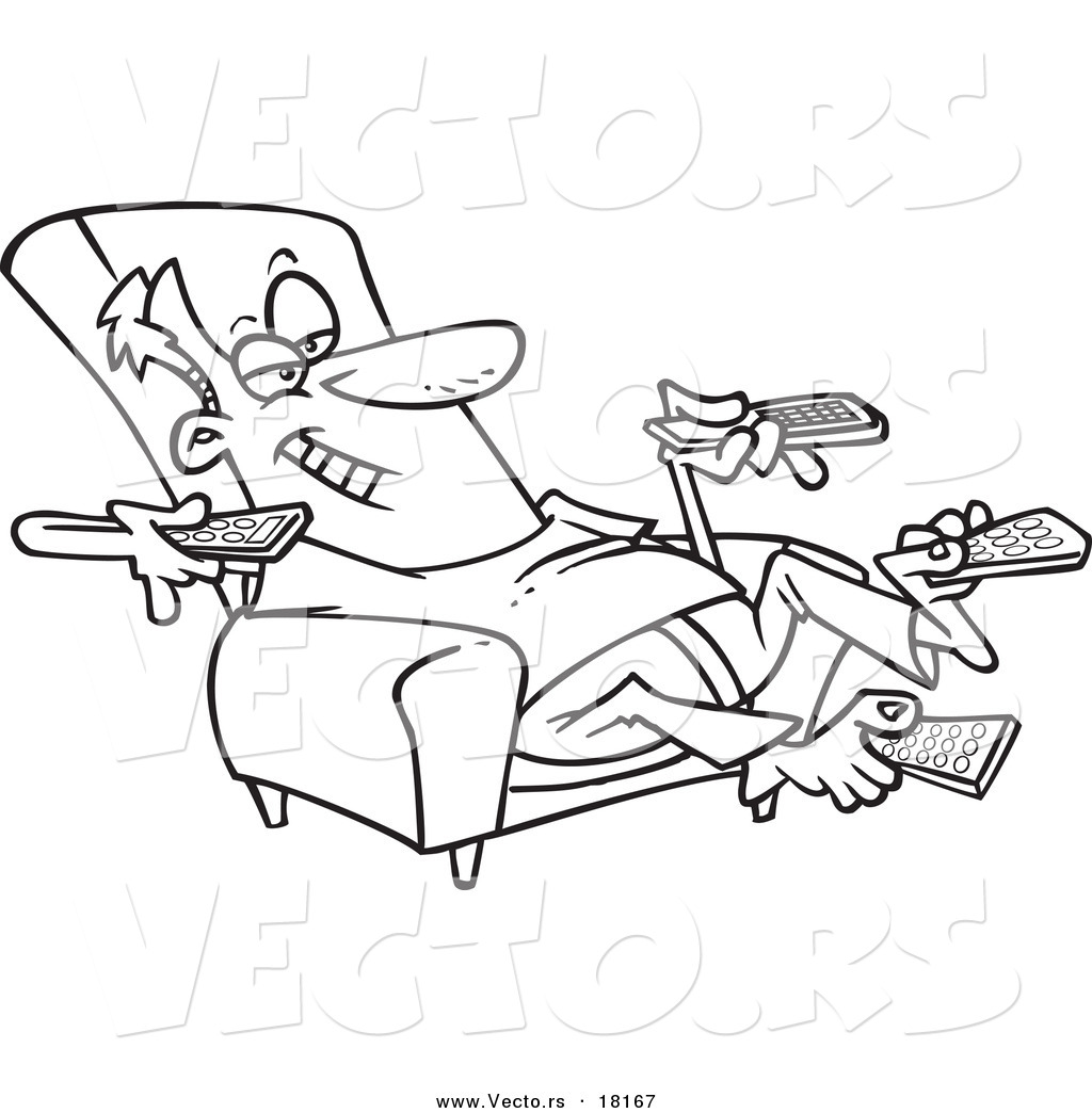 Vector Of A Cartoon Man Sitting In Recliner And Holding