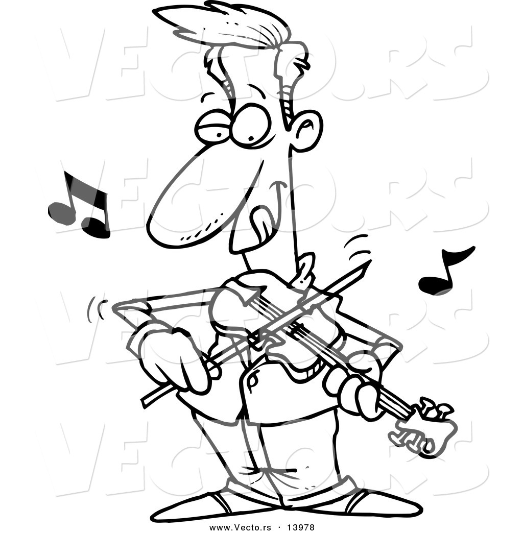 Vector Of A Cartoon Man Standing And Playing Violin