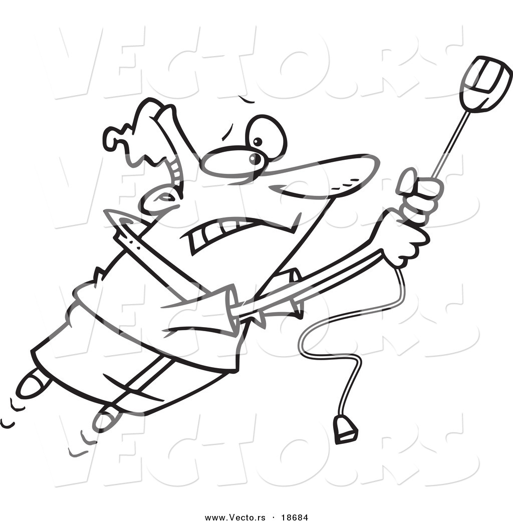 vector of a cartoon man swinging on a high speed internet computer mouse