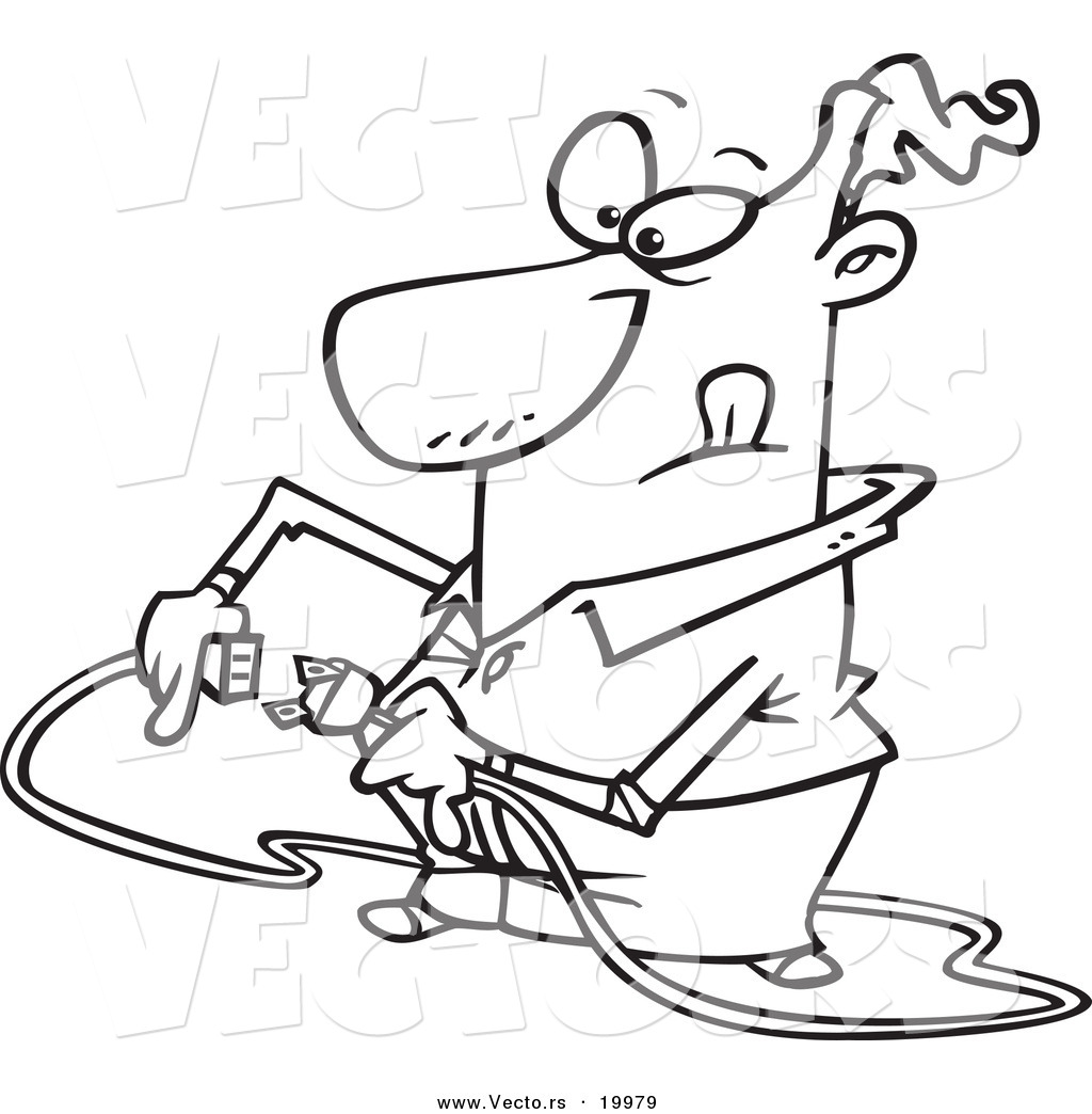 vector of a cartoon man trying to plug in a cable - outlined coloring page by ron leishman