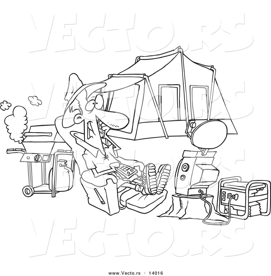 Vector Of A Cartoon Man Watching Tv Hooked Up To A