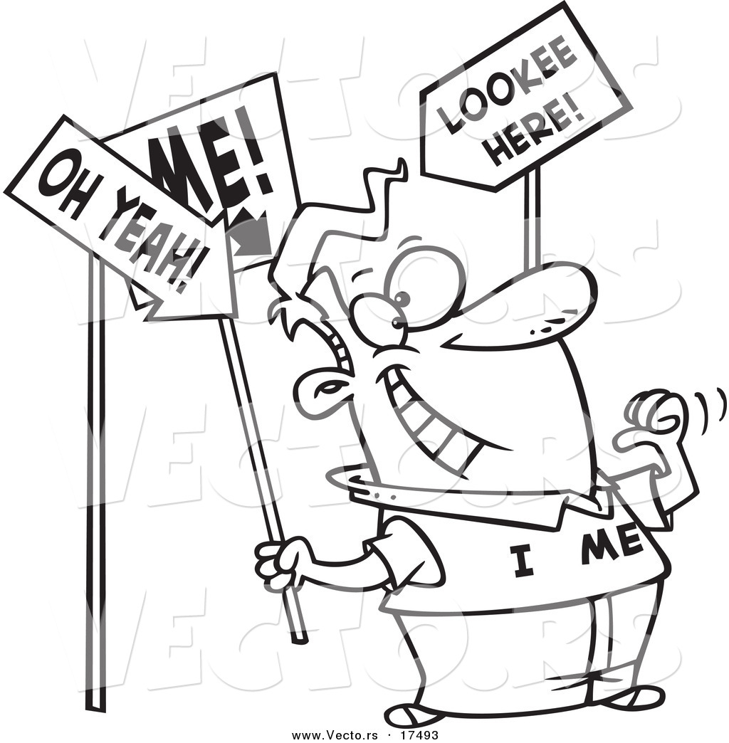 Vector Of A Cartoon Man With An Ego Holding Signs