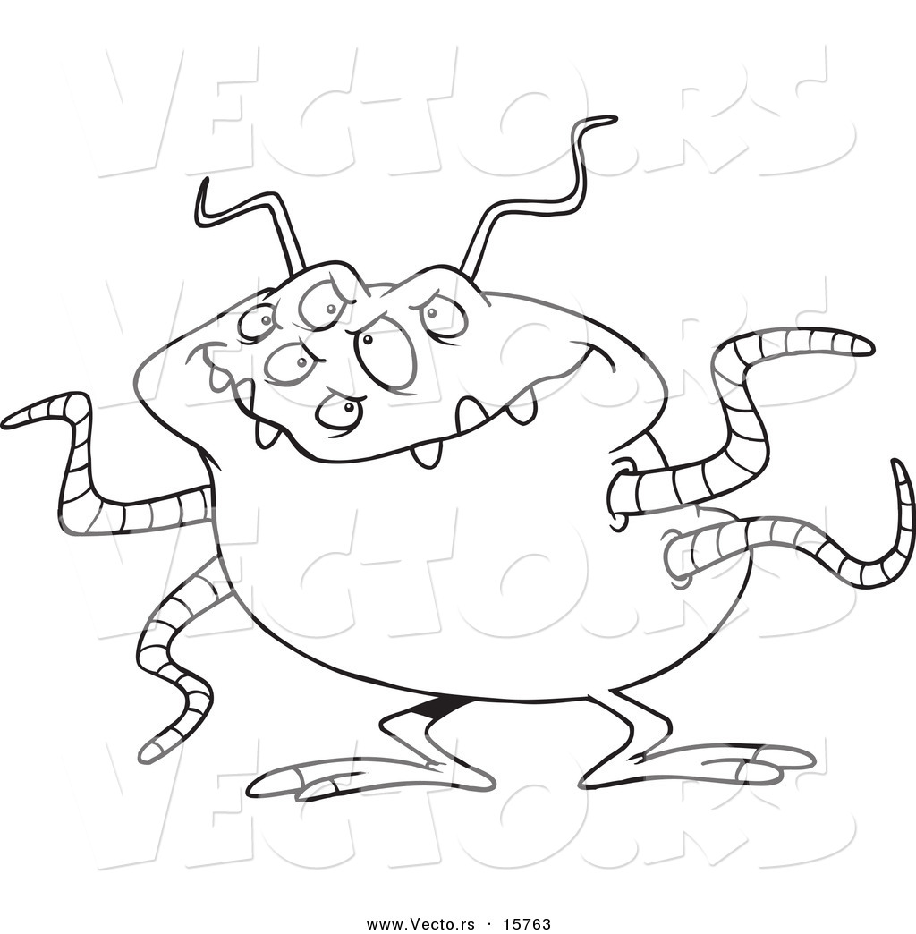 Vector of a cartoon menacing alien outlined coloring for Cartoon alien coloring pages