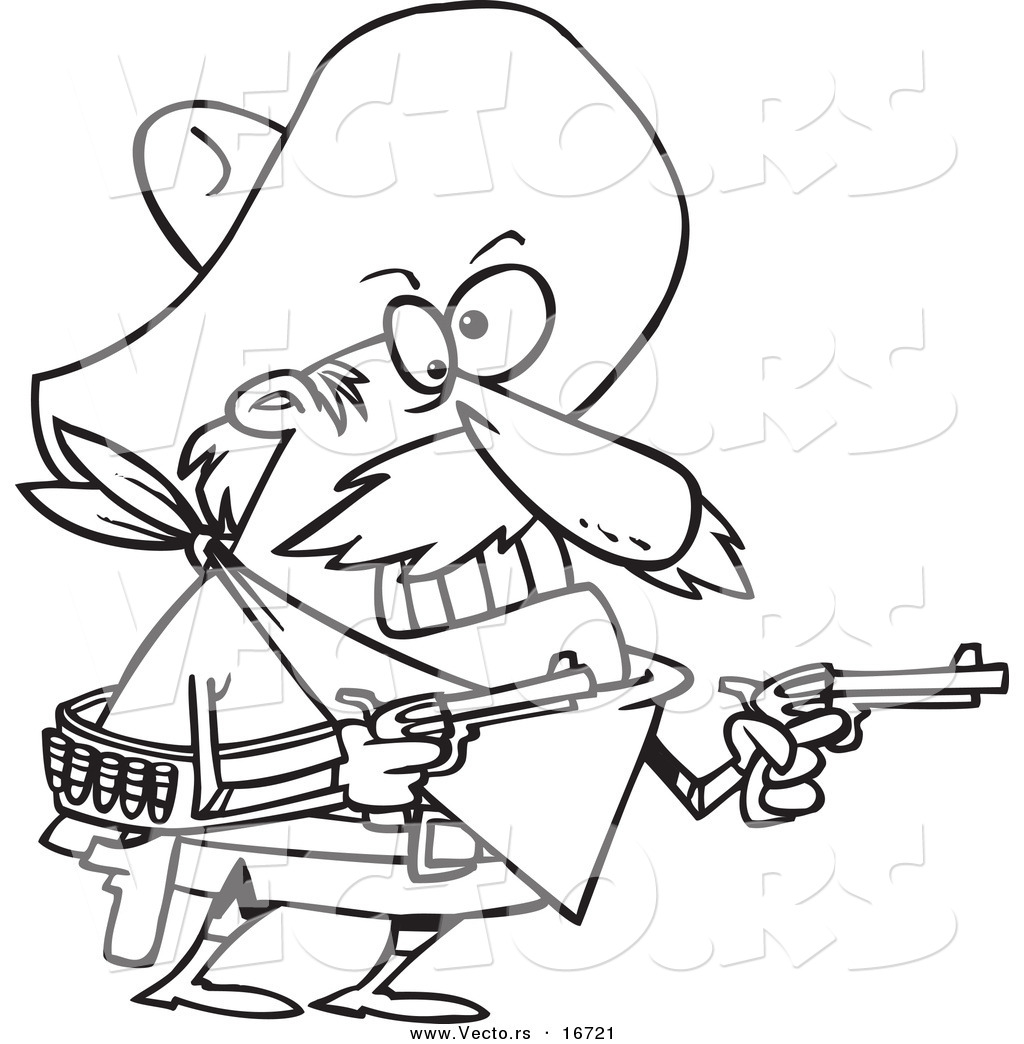 vector of a cartoon mexican bandito holding pistols outlined