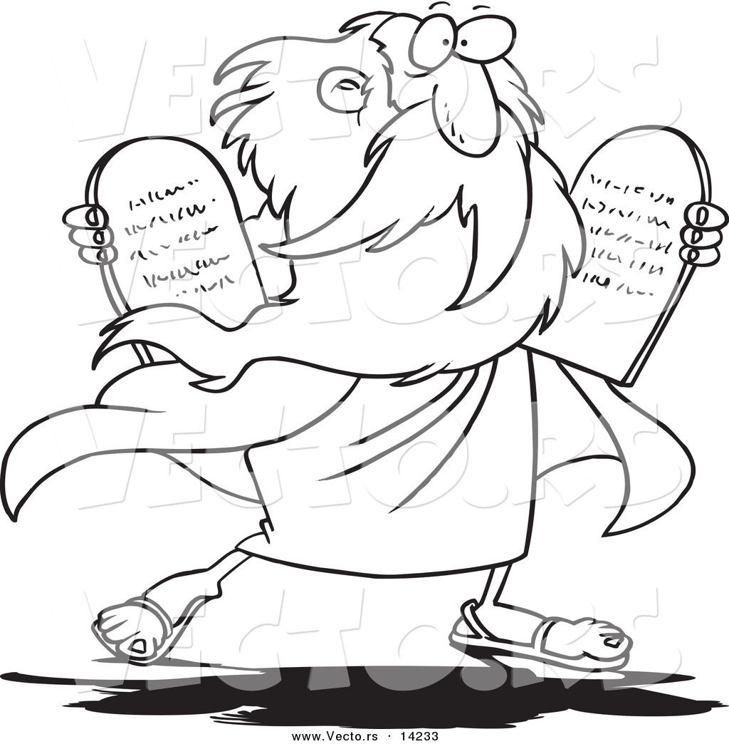 Vector of a Cartoon Moses Carrying Tablets Coloring Page