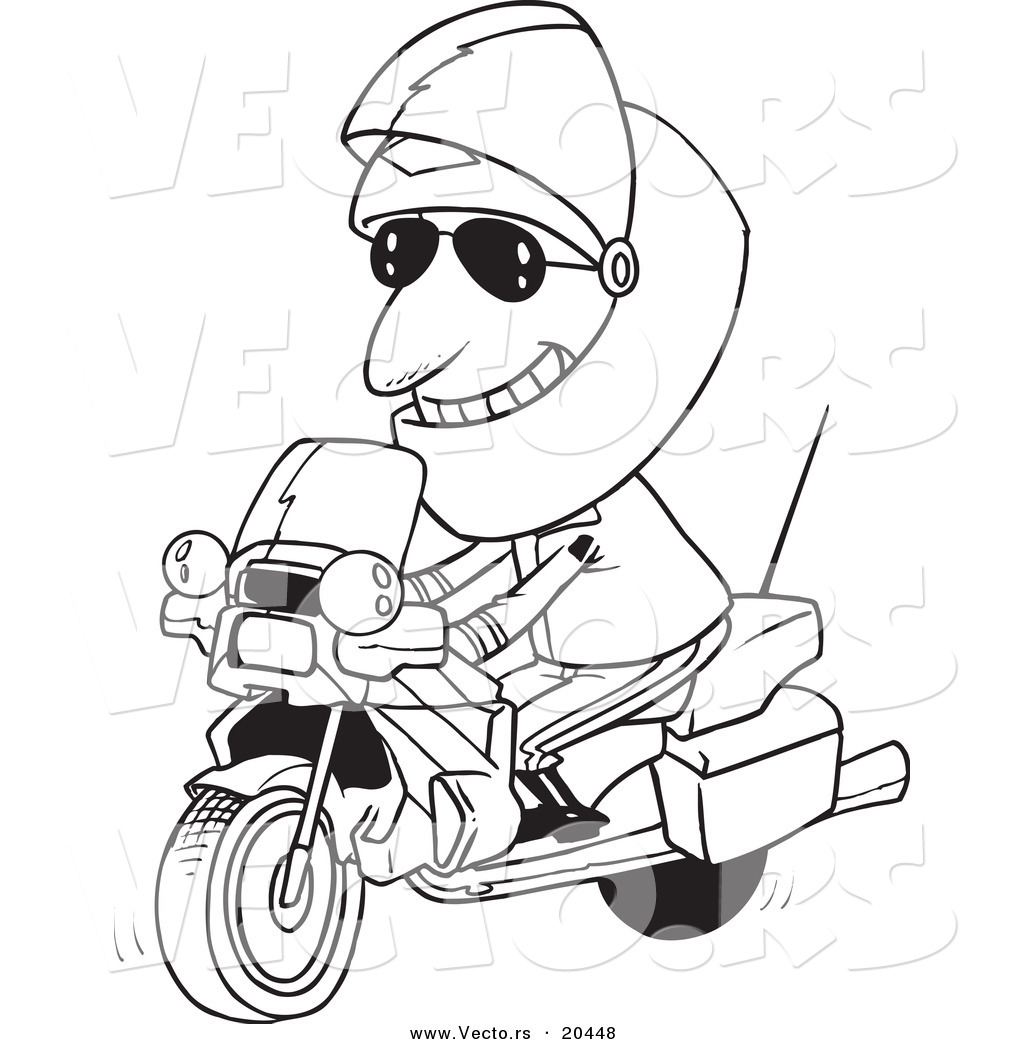 Vector of a Cartoon Motorcycle Cop - Coloring Page Outline