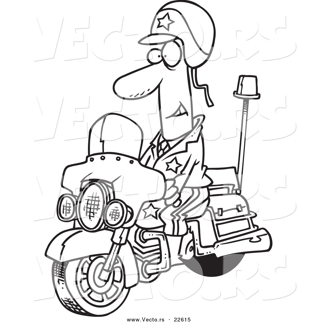 vector of a cartoon motorcycle cop coloring page outline by