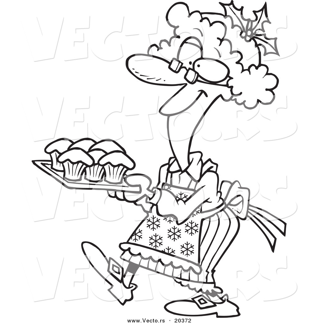 Vector of a Cartoon Mrs Claus Baking Cupcakes - Coloring Page Outline ...