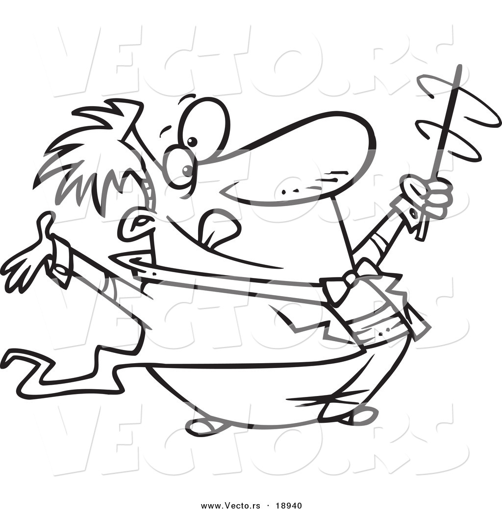 vector of a cartoon music conductor swirling his baton outlined coloring page