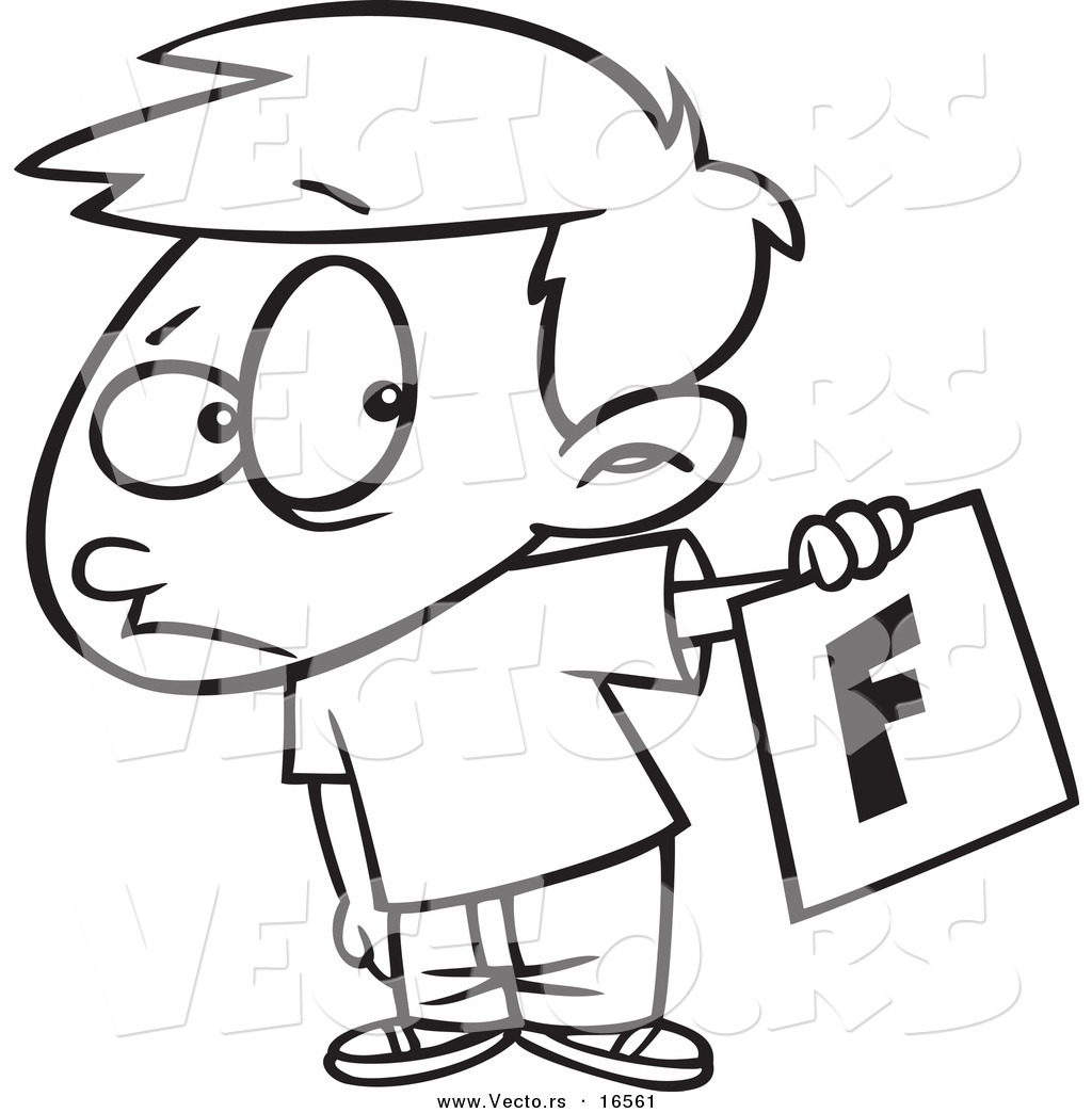 Larger Preview: Vector of a Cartoon Nervous School Boy Holding out a ...