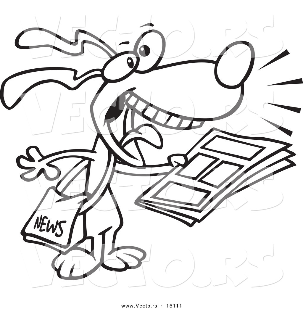 vector of a cartoon news dog coloring page outline by toonaday 15111. Black Bedroom Furniture Sets. Home Design Ideas