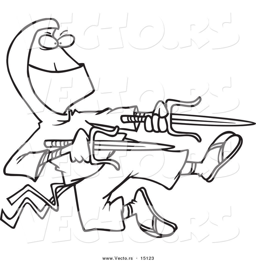 vector of a cartoon ninja holding blades coloring page outline