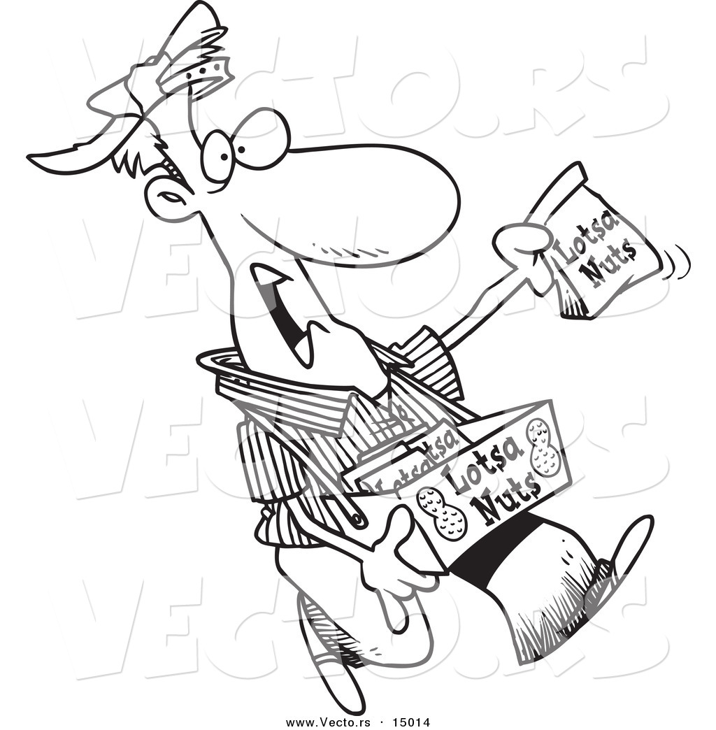 vector of a cartoon nut vendor holding up a bag coloring page