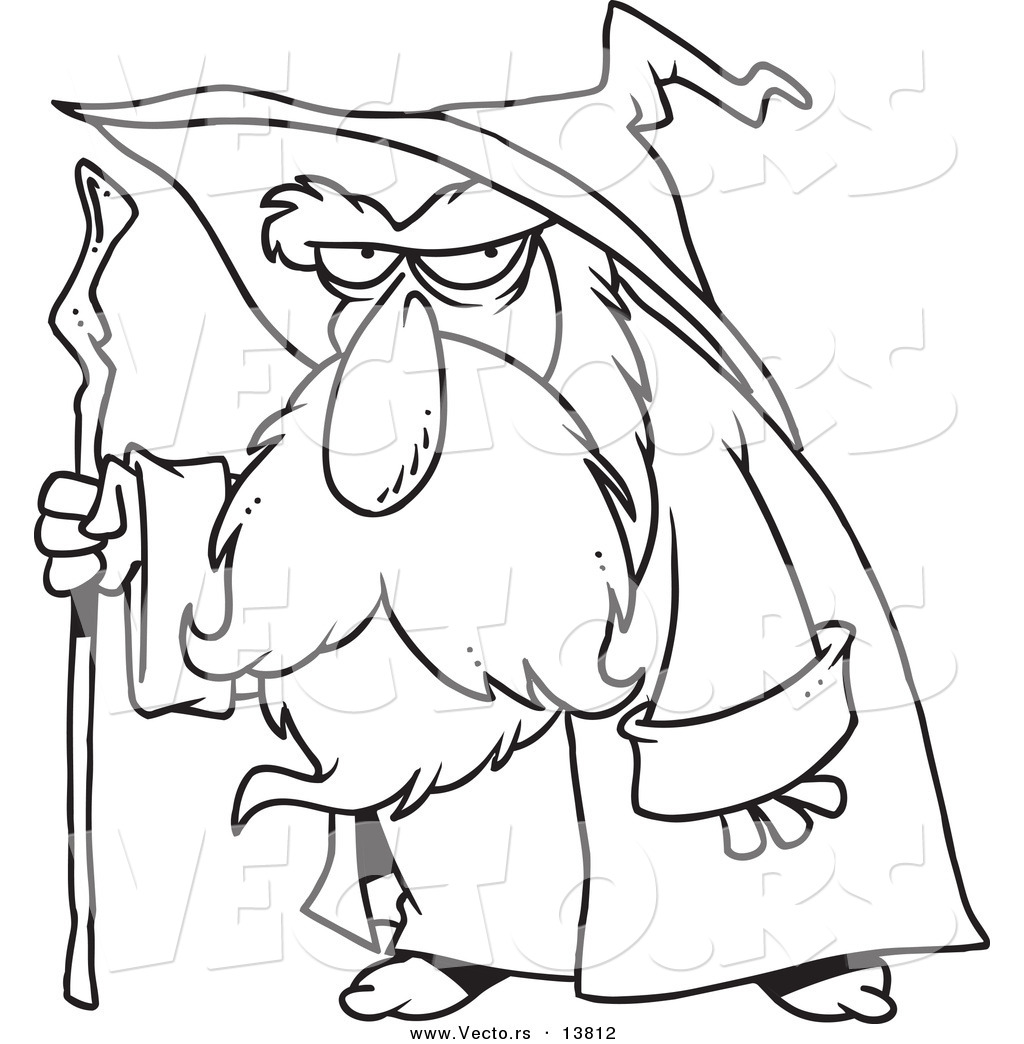 Coloring book outlines - Vector Of A Cartoon Old Wizard Using His Cane Coloring Page Outline