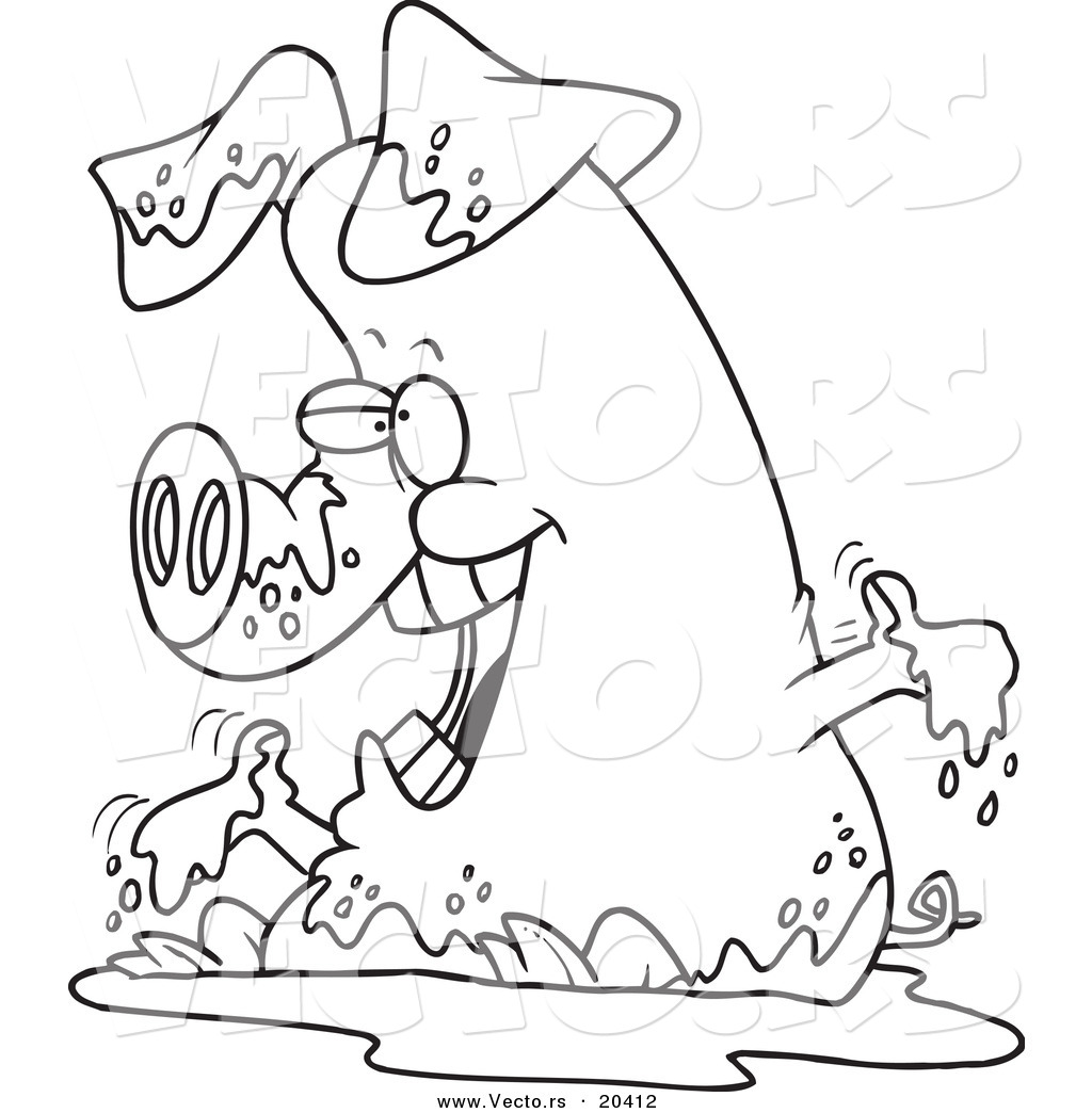 pig in mud coloring pages