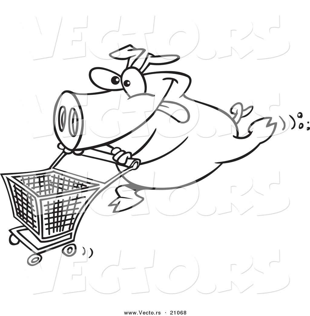Cartoon pig jan 04 2013 14 34 07 picture gallery for Grocery cart coloring page