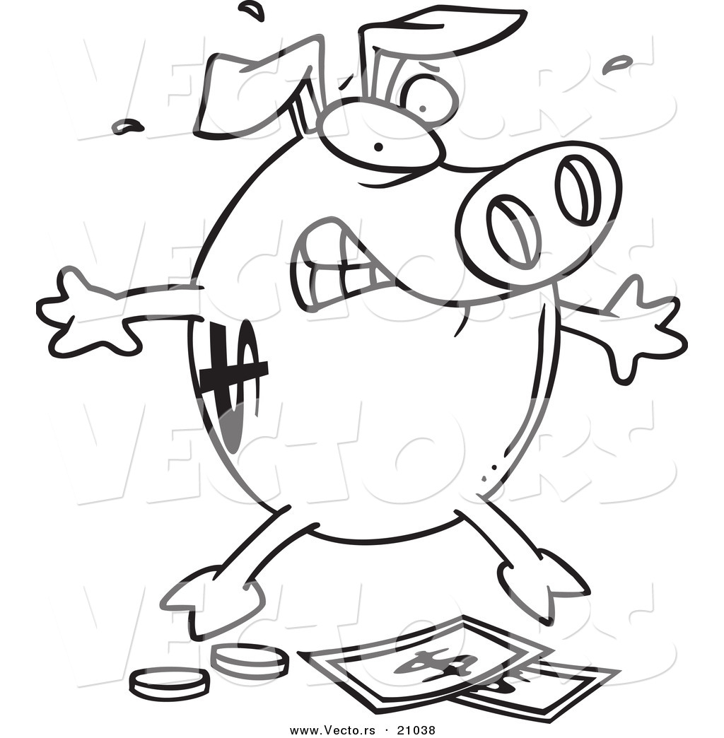 vector of a cartoon piggy bank over money