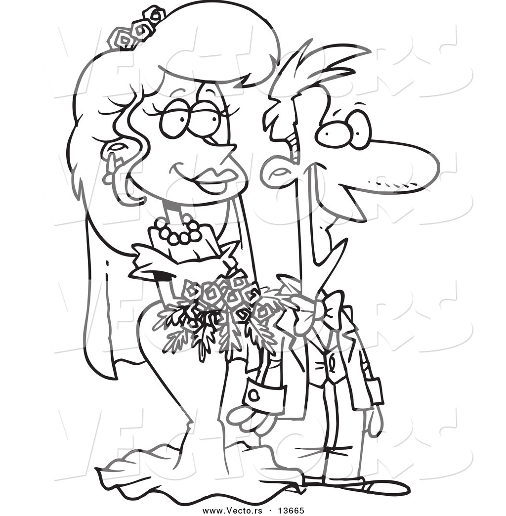 Wedding Outline: Anime Wedding Couple Pages Coloring Pages