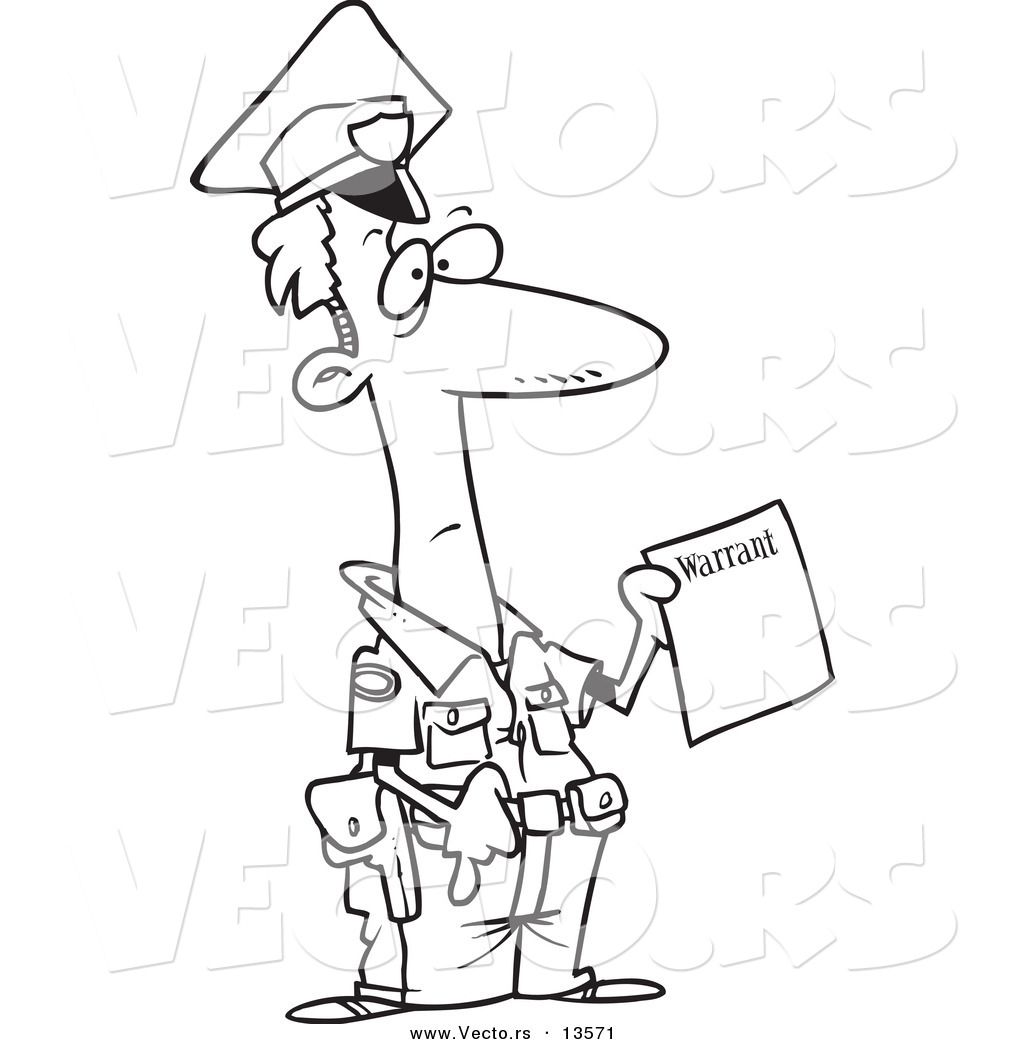 vector of a cartoon police officer holding a warrant coloring