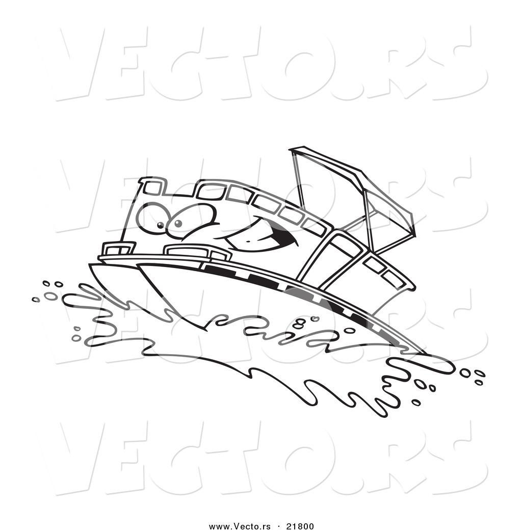 Cartoon Boats on Water of a Cartoon Pontoon Boat