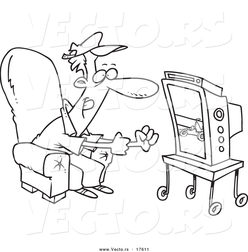 vector of a cartoon race fan watching tv coloring page outline