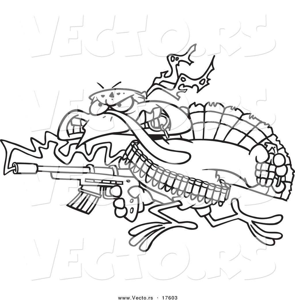 vector of a cartoon rambo turkey bird