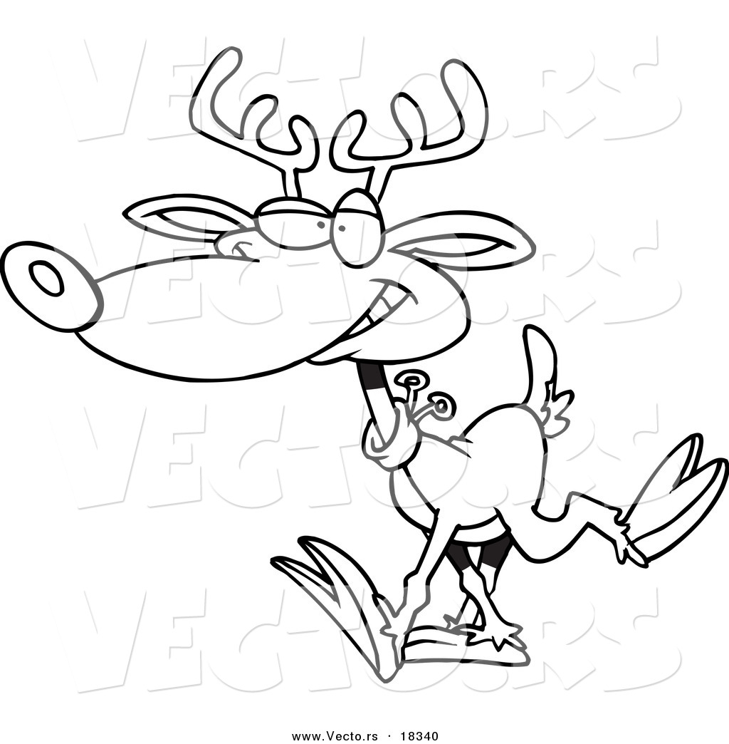 Vector Of A Cartoon Reindeer Walking Outlined Coloring Page By Ron Leishman 18340