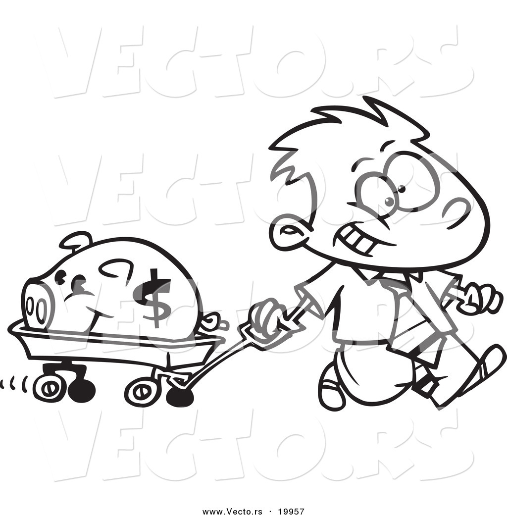 vector of a cartoon rich boy pulling his piggy bank in a