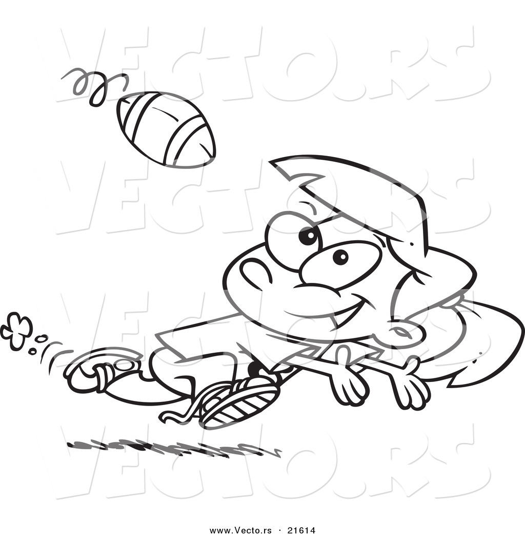 Vector of a Cartoon Running Girl Catching a Football Outlined