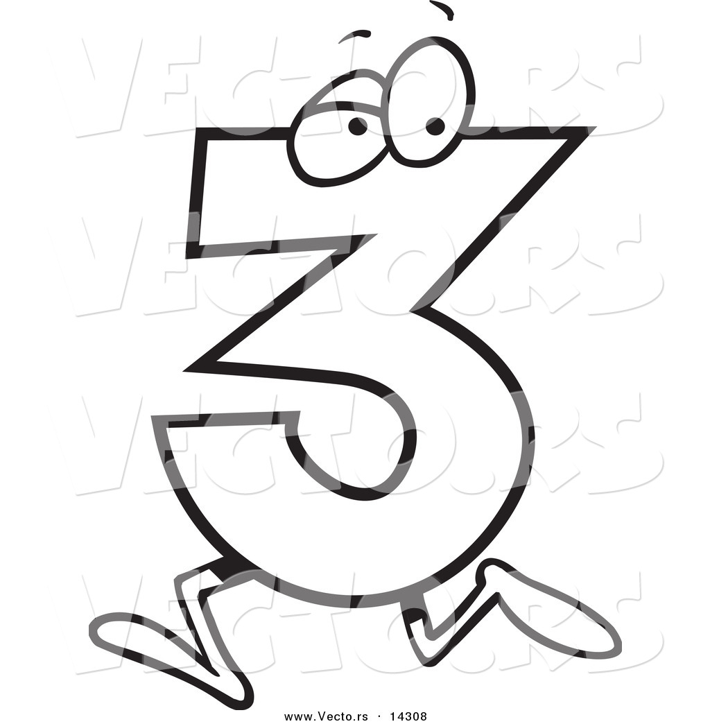 Number 3 coloring pages - Vector Of A Cartoon Running Number Three Coloring Page Outline