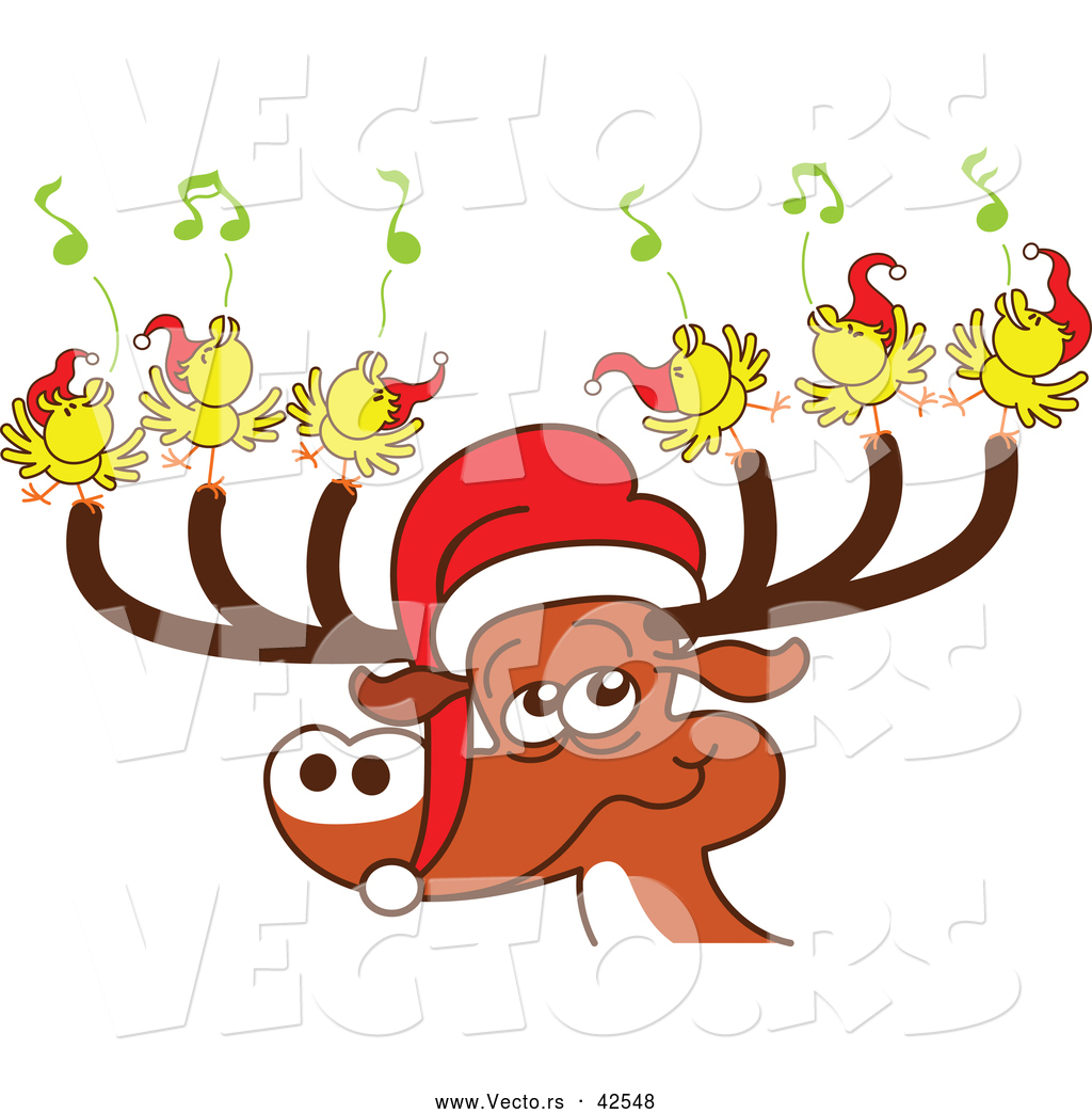 Vector of a Cartoon Santa Reindeer with Singing Birds by Zooco ...