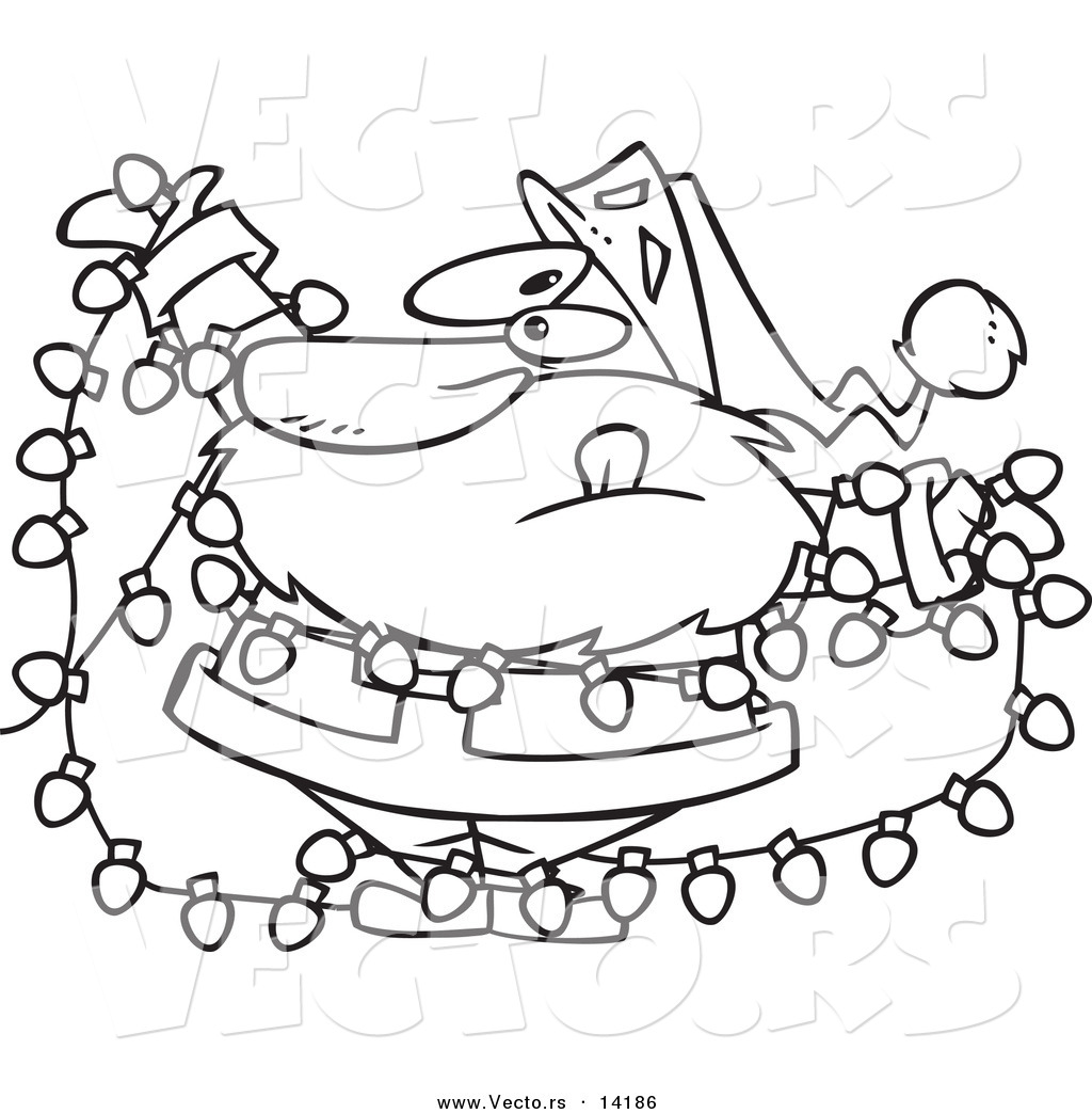 vector of a cartoon santa tangled in christmas lights - coloring page outline by toonaday