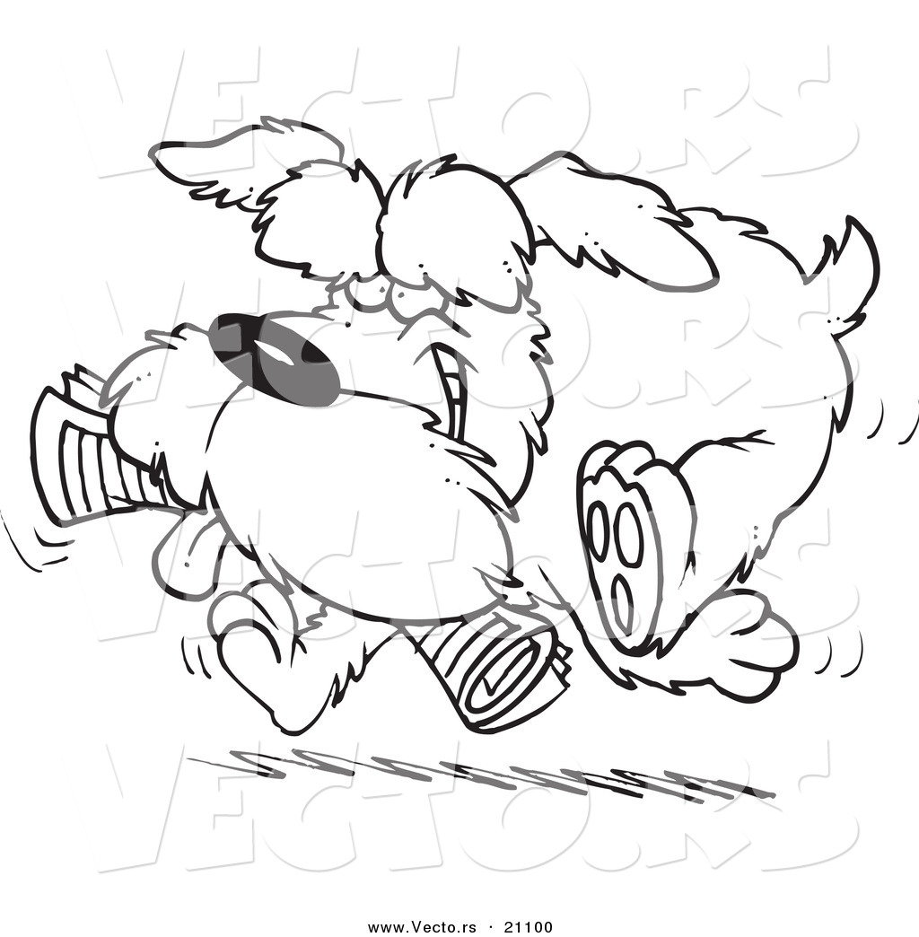 vector of a cartoon schnauzer dog fetching a newspaper coloring page outline by toonaday 21100. Black Bedroom Furniture Sets. Home Design Ideas