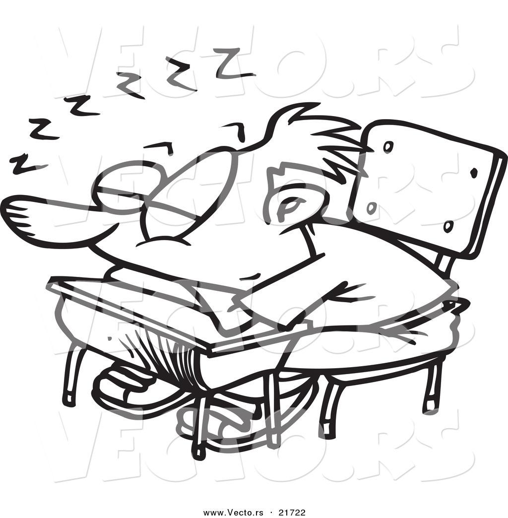 Vector of a Cartoon School Boy Sleeping on His Desk ...