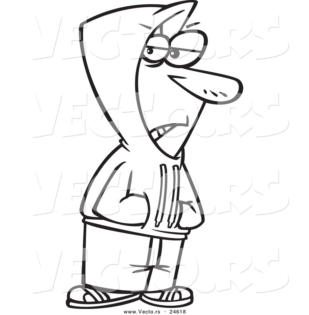Vector of a cartoon shady man wearing a hoodie outlined Coloring book hoodie