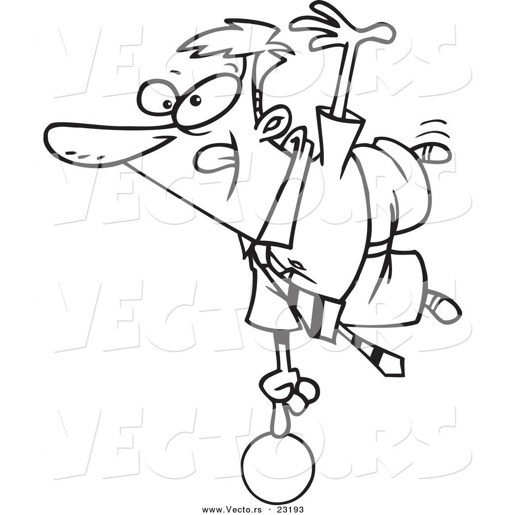 vector of a cartoon show off businessman balanced on a