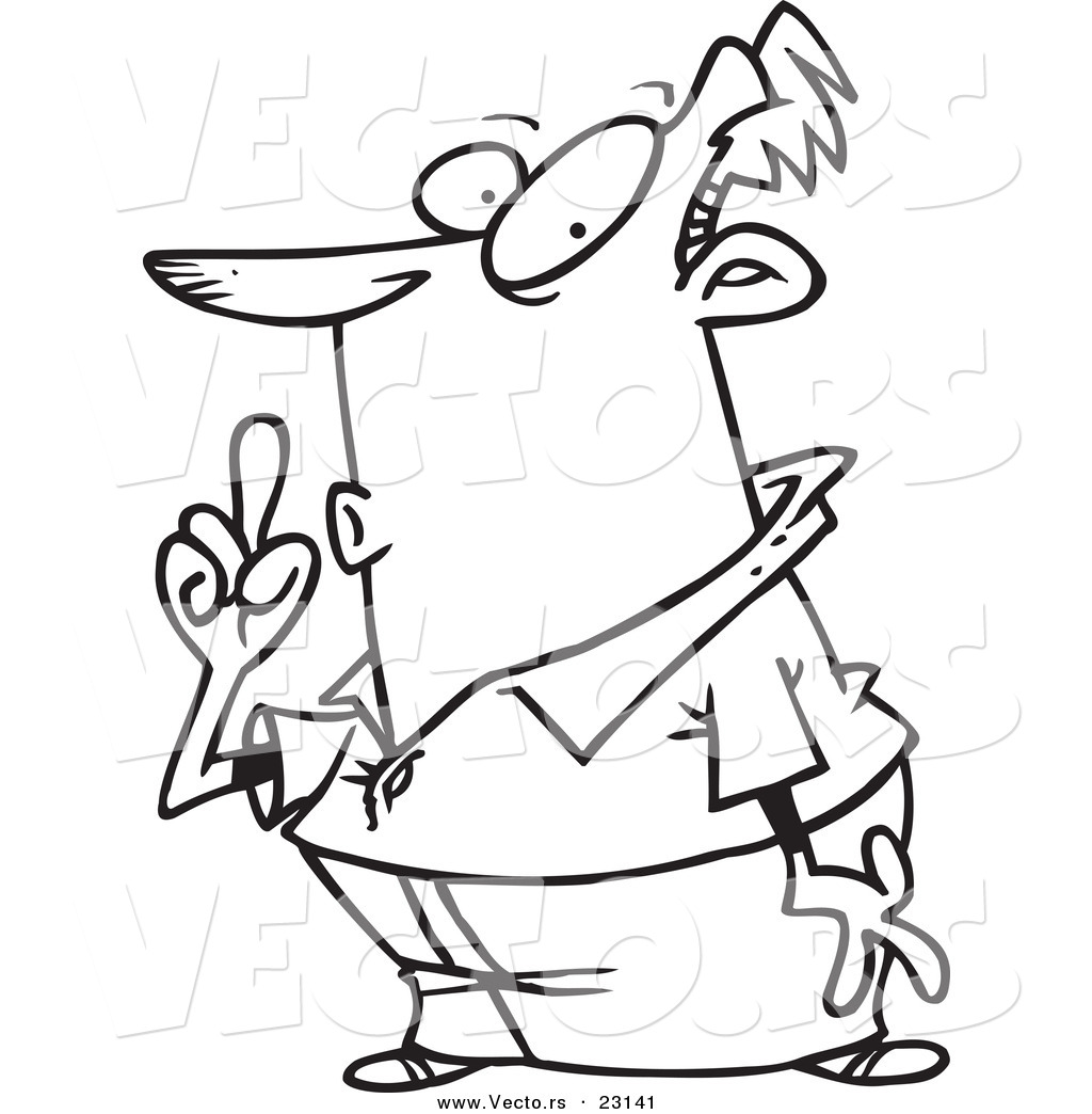 Vector Of A Cartoon Shushing Guy Coloring Page Outline