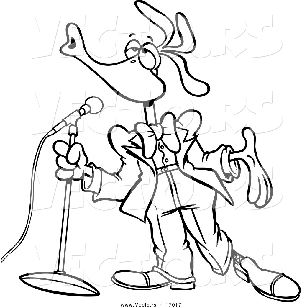 Vector of a Cartoon Singing Bird - Coloring Page Outline by Ron ...