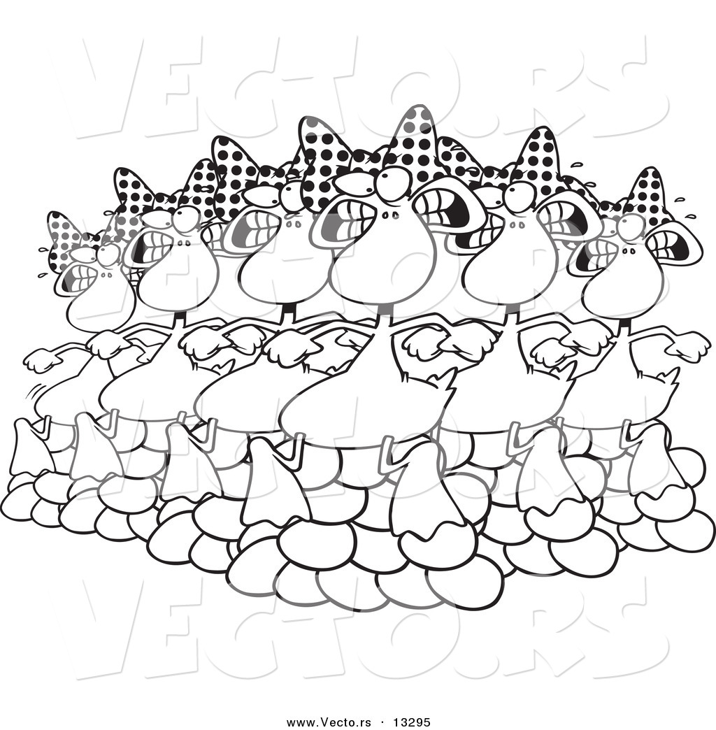 Twelve days of christmas coloring page - Vector Of A Cartoon Six Geese A Laying Coloring Page Outline