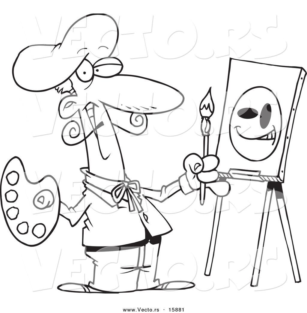 vector of a cartoon smiley face artist outlined coloring page - Artistic Coloring Pages